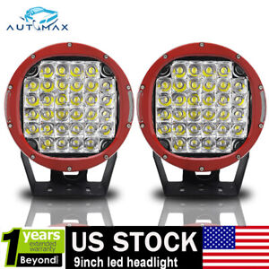 Cree 9 Led Red Driving Light Pair Round Spot Offroad 4x4 Work Suv Red Headlight