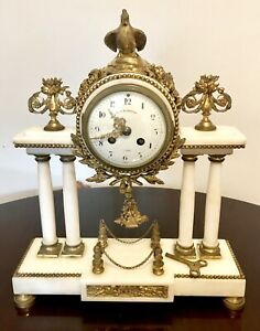 Antique French Portico Mantel Clock In White Marble And Ormolu Gild Metal