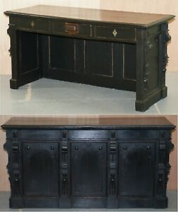 Victorian Gendarm Ebonised Haberdashery Shop Counter Desk Alarmed Till Drawer