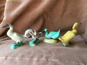 Four Nice Antique Chinese Porcelain Mud Duck Figurines