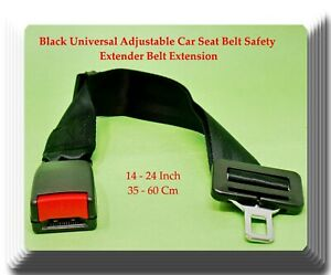 14 24 Black Universal Adjustable Car Seat Belt Safety Extender Belt Extension