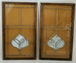 Vintage Pair Wood Framed Beveled Leaded Stained Glass Panel Art Deco 27