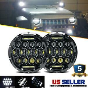 2x 7 Inch Round 280w Total Led Headlights Hi lo For 97 17 Jeep Jk Tj Lj Wrangler