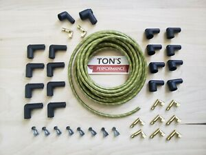 8mm Diy Braided Cloth Covered Spark Plug Wire Kit Vintage Wires V8 Green Yellow