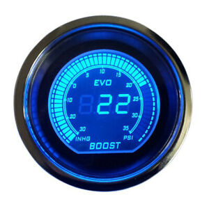 2 Digital Evo Gauge Boost Vacuum Turbo Meter Blue Red Smoke Led Psi
