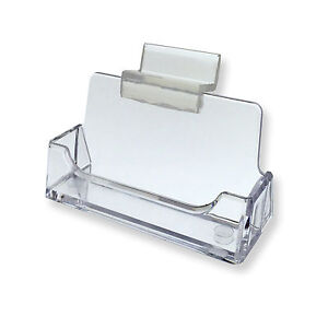 Slatwall Clear Plastic Business Card Holder Display Stand Desk Rack Qty 24