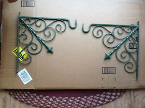Two 13 1 2 X 13 Vintage Painted Metal Porch Brackets Corbels