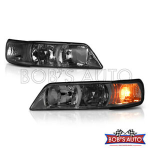 For 1995 1999 Maxima Smoke Tinted 1pc R34 Style Headlights Corner Parking Pair