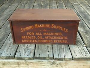 Antique Sewing Machine Parts Wooden Store Display Cabinet 2 Drawer