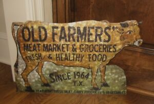 Cow Farmers Market Wall Sign Primitive French Country Farmhouse Kitchen Decor