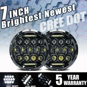 300w Dot 7 Inch Round Led Headlights Halo Pair Hi Lo Projector For Hummer H1