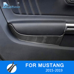 For Ford Mustang 2015 2019 Carbon Fiber Front Car Door Panel Cover Sticker Trim