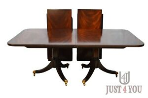 Maitland Smith Mahogany Dining Table 2 Leaves Pads Included
