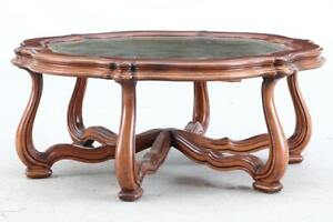 Vintage Gold Embossed Leather Top Walnut Finish Coffee Table