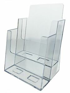 2 Tier Brochure Holder For 6 w Literature Pamphlet Display Stand Clear Acrylic