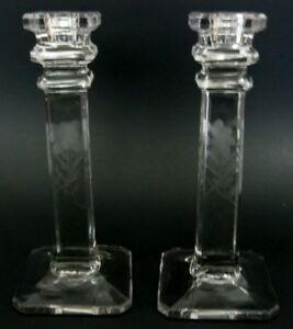 Vintage Etched Crystal Candlesticks Column Candle Holders Pair