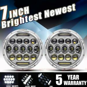 Chrome Dot 7 Inch Round Led Headlight Pair Halo Hi lo For Jeep Hummer Chevy Ford