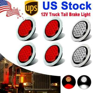 4inch 24 Led Round Stop Turn Tail Backup Reverse Truck Lights 4 Red 2 White