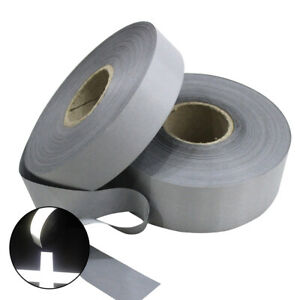 High Visibility Reflective Sew On Tape Strip 25 30 50mm Silver On Fabric Trim