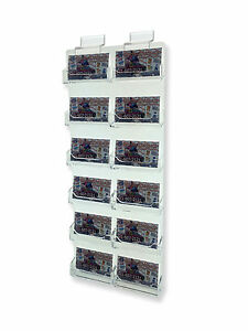 12 Pocket Business Card Holder Acrilyc Horizontal Slatwall New Clear Rack