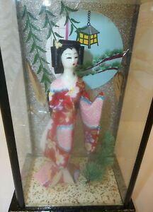 Vintage Japan Geisha Doll Floral Kimono Bonsai Tree Glass Display Case