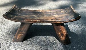 Antique Primitive Hand Carved Wood Milking Stool Chair Bench