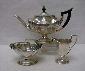 Gorham Silver Plymouth Sterling Teapot Ashwood Handle Creamer Sugar Basket Set