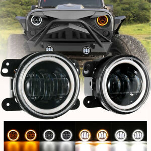 4 Inch Round Led Fog Lights Drl Angel Eye Halo For Jeep Wrangler Jk 2007 2017