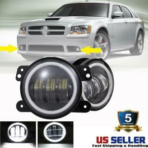 Pair Dot 4 Inch Round Led Fog Lights Drl Halo Driving For Dodge Magnum 2005 2008