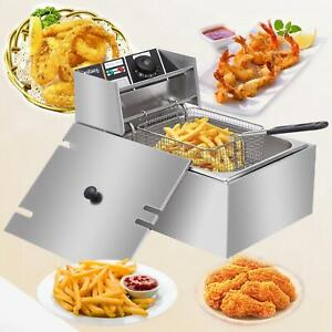 2500w 6l 6 3qt Electric Deep Fryer Commercial Tabletop Restaurant Fry Basket