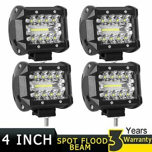 4x Tri Row Cree Led Work Light Bar Pods 4inch Offroad Backup Driving Spot