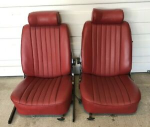 Mercedes R107 450sl 350sl 500sl Red Leather Bucket Front Seats Oem