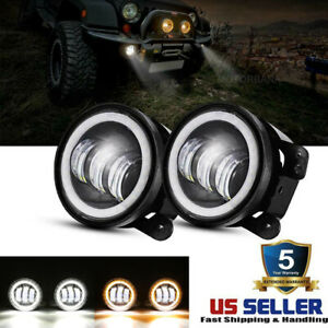 Dot 4 Inch Round Cree Led Fog Lights Halo Driving For Jeep Wrangler Jk 2007 2018
