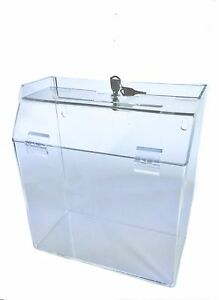 Clear Ballot Suggestion Donation Box 9 w X 10 h X 5 d With Lock Contest Holder