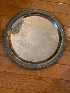 Vintage Wm Rogers Silver Plate Serving Tray Reticulated 12 Spring Flowers