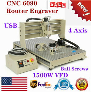Usb 4 Axis Cnc 6090 Router Engraver Engraving Machine 1500w Vfd Drilling Cutting