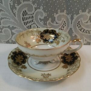 Antique Shafford Cream Black W Gold Footed Tea Cup Saucer Set