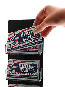 Gift Card Display Business Card Holder 6 Pocket Clear Black Wall Mount Qty 6
