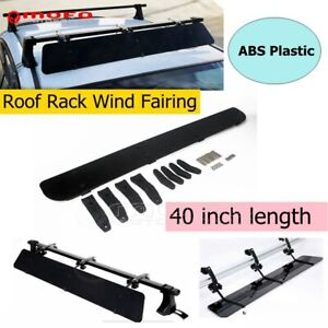 Universal Black Rack Aerodynamic Roof Wind Fairing Air Deflector Kit 40 Inches