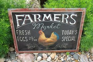 Chicken Rooster Egg Wall Sign Primitive French Country Kitchen Farmhouse Decor