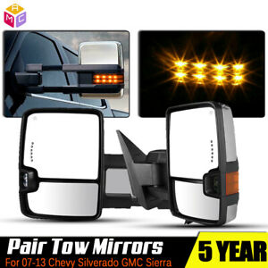 L r Chrome Tow Mirror Power Heated Signal For 2007 2013 Gmc Yukon Xl Denali