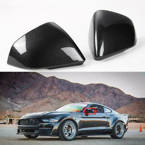 For Ford Mustang Gt 15 19 Real Carbon Fiber Car Door Side Mirror Cover W Light