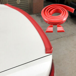 3d Rear Roof Trunk Spoiler Wing Tail Lip 4 9ft Universal Red Carbon Fiber Trim