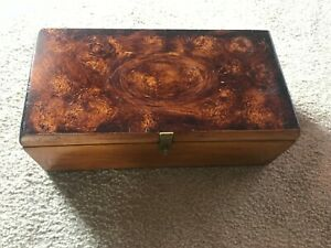 Vintage Wood Treasure Chest Trinket Jewelry Box 15 1 2 Long Stash Box W Latch