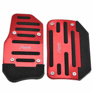 2x Red Universal Racing Sports Non Slip Automatic Car Gas Brake Pedal Pads Cover