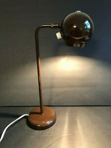 Vintage Small Brown Metal Table Spotlight Lamp Euc Mcm Atomic Lighting