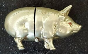 Silver Plate Vintage Victorian Antique Pig Design Sewing Tape Measure Box