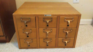 Vintage Nine Drawer Oak Library Card Catalog Cabinet Made By Library Bureau