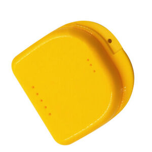 Dental Orthodontic Retainer Box Case Denture Teeth Mouth Guard Storage Yellow