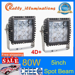 2x 5inch 80w Square Led Work Light Spot Offroad Tractor Boat 4wd Suv 4d Opticals